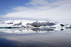 Iceland. Jokulsarlon lagoon filled with icebergs from Vatnajokul glacier - largest one in Europe Stock Photography