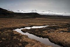 Iceland. Grass mountains and water in Iceland stock photos