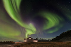Iceland. Night shot of aurora borealis in Iceland Royalty Free Stock Photos
