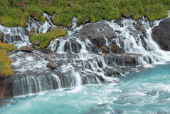 Iceland. A frontal view of Hraunfossar waterfalls Stock Photography