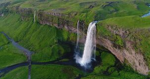 Free Iceland Aerial Drone 4K Video Of Waterfall Seljalandsfoss In Icelandic Nature Royalty Free Stock Photography - 173171127