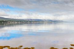 Iceland akureyri city in summer. Akureyri  july 2013 Akureyri town is located at the base of a fjord in northern Iceland this is way a lot of visitors come here Royalty Free Stock Image