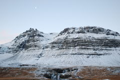 Iceland. Amazing glacier at Iceland with moon Royalty Free Stock Photography