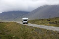 Iceland. August 29, 2017: A camper on the main road in  colled the Ring Road, , Europe royalty free stock photography