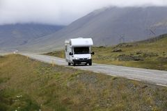 Iceland. August 29, 2017: A camper on the main road in  colled the Ring Road, , Europe stock images