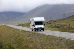 Iceland. August 29, 2017: A camper on the main road in  colled the Ring Road, , Europe royalty free stock image