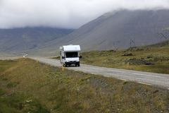 Iceland. August 29, 2017: A camper on the main road in  colled the Ring Road, , Europe royalty free stock photo