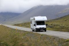 Iceland. August 29, 2017: A camper on the main road in  colled the Ring Road, , Europe stock photo