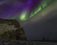 Iceland Aurora. Night photography of Iceland with aurora borealis and stars Stock Photography