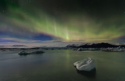 Iceland Aurora. Night photography of Iceland with aurora borealis and stars Stock Photo