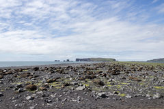 Iceland beach and island. Iceland south coast beach and island Stock Images