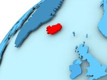 Iceland on blue globe. Iceland in red on blue model of political globe. 3D illustration Royalty Free Stock Photography