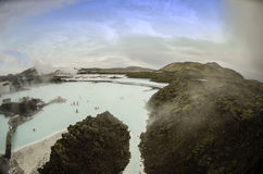 Iceland Blue Lagoon. Geothermal waters and lava rocks of Blue Lagoon in Iceland Stock Photo