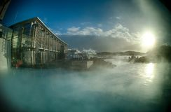 Iceland Blue Lagoon hot spring. Mineral stock image
