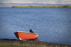 Iceland: Boat in Myvatn lake Stock Photos