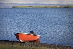 Iceland: Boat in Myvatn lake stock photos