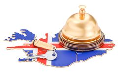 Iceland booking concept. Icelandic flag with hotel key and recep. Tion bell, 3D Royalty Free Stock Photo
