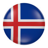 Iceland button. 3d rendering of  Iceland flag on a button Royalty Free Stock Photography