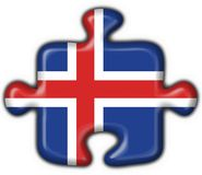 Iceland button flag puzzle shape Stock Photography
