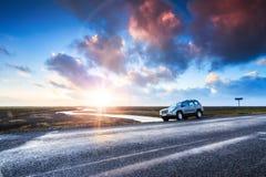 Iceland car landscape Stock Photos