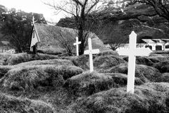 Iceland cemetery BW Stock Images