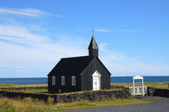 Iceland Chapel. Typical small chapel building situated on seashore of North Sea, Iceland Royalty Free Stock Photo