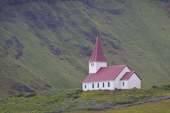 Iceland: Church in solitude Royalty Free Stock Images