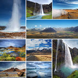 Tourist Attractions in Iceland. Collage of Icelandic landscape, nature and famous tourist attractions such as geyser, icebergs and waterfall Royalty Free Stock Photo