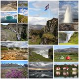 Iceland collage. Photo collage from Iceland. Collage includes major natural landmarks like the geyser, Landmannalaugar mountains and Jokulsarlon lagoon Royalty Free Stock Photography