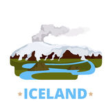 Iceland country design template Flat cartoon style. Iceland country magnet design template. Flat cartoon style historic sight showplace web vector illustration Royalty Free Stock Photos