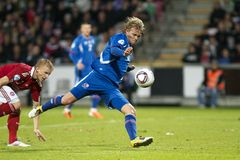 Iceland - Denmark (UEFA Under21) Royalty Free Stock Photography