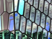 Iceland detail of glass facade of the Harpa Concert Hall 2017 Royalty Free Stock Photography