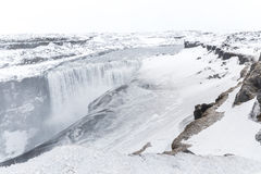 Iceland Dettifoss Waterfall. In winter with snow stock image