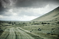 Iceland dirt road Royalty Free Stock Photo