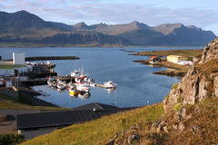 Iceland - Djupivogur. Small fishing town. Mountains and fiord Stock Images