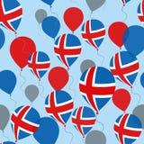Iceland dnia niepodległości Bezszwowy wzór Latający mieszkanie balony W Krajowych kolorach Iceland obrazy stock