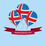 Iceland dnia niepodległości kartka z pozdrowieniami Latający mieszkanie balony W Krajowych kolorach Iceland obraz royalty free