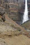 Iceland. East fiords. Lagarfljot area. Hengifoss waterfall and b Royalty Free Stock Image