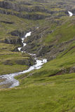 Iceland. East fjords. Landscape with river and mountains. Royalty Free Stock Images