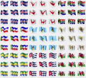 Iceland, Easter Rapa Nui, South Africa, Khakassia, Saint Lucia, VirginIslandsUS, Gabon, Cuba, Wales. Big set of 81 flags. Royalty Free Stock Image