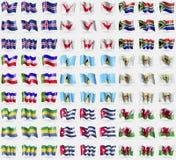 Iceland, Easter Rapa Nui, South Africa, Khakassia, Saint Lucia, VirginIslandsUS, Gabon, Cuba, Wales. Big set of 81 flags. Royalty Free Stock Image