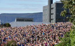 Iceland fans celebrating their soccer team. After coming home. The smallest nation ever competing in the European Championships   2016 earns their best ever Royalty Free Stock Image