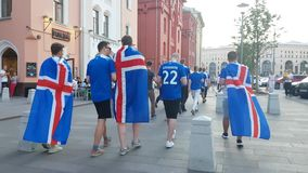 Iceland fans on the street Royalty Free Stock Photo