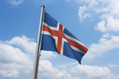 Iceland Flag with Clouds Stock Image