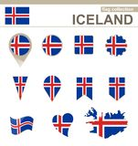 Iceland Flag Collection. 12 versions vector illustration