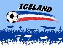 Iceland flag colors with soccer ball and Icelander supporters si. Lhouettes. All the objects, brush strokes and silhouettes are in different layers and the text Stock Photos