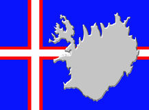 Iceland flag with country map Stock Photos