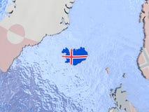 Iceland with flag on globe Royalty Free Stock Image