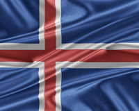 Iceland flag with a glossy silk texture. Stock Images