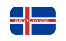 Iceland flag, isolated icon of icelandic banner with scratched texture, grunge, Scandinavian northern country. Iceland flag, Reykjavik. Isolated icon of stock illustration